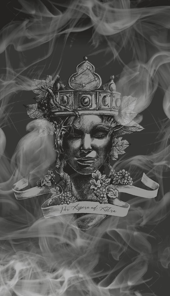 simbolo del brand rappresentazione del viso statua di una dea circondata da nebbia